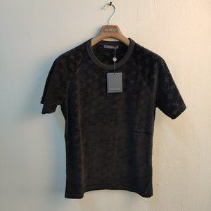 Louis Vuitton Men Towel Fabric Black T-Shirt
